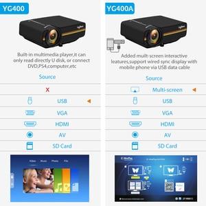 Image 3 - ThundeaL YG400 up YG400A Mini proyector portátil 1800 Lumen Pantalla de sincronización con cable más estable que WiFi Beamer Cine en casa de película  Compatible con AC3 HDMI VGA AV USB proyector