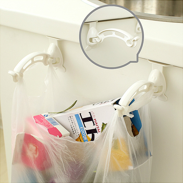 1 Set Kitchen Cabinet Trash Bag Holder Garbage Hanger Cupboard Door Hanging Rack Clips Organizer