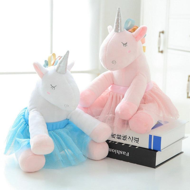 Soft Safety Plush Unicorn Toy Silver Horn Fantastic Pink Ballet Skirt Dressing Rainbow Unicorn Stuffed Animal Doll For Baby Girl