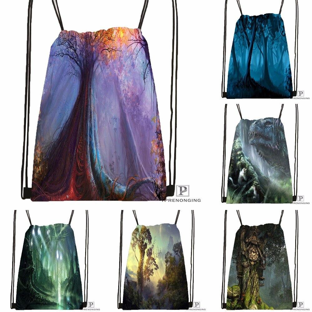 Custom Fantasy Forest Drawstring Backpack Bag Cute Daypack Kids Satchel (Black Back) 31x40cm#180531-04-29