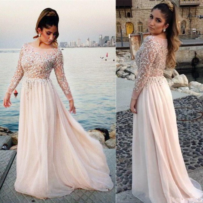 Sheer Long Sleeve Prom Dresses 2017 Elie Saab Beading Robe De Bal...