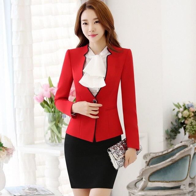 5806345cd22a 3 piece set women Professional Formal OL Styles Work Wear Suits blazer +blouse+Skirt