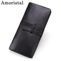 Unisex Wallet Clutch Bag Men's Purses Black Genuine Leather Men Wallets Women Wallet Long Purse Cowhide Belt Money Clip B484