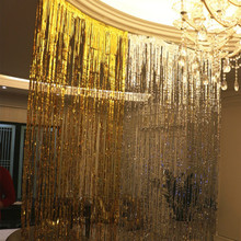 10PCS Rainbow Metallic Foil Curtain Wedding Backdrop Birthday Party Decorations Photography Background Supplies Tassel Garlands