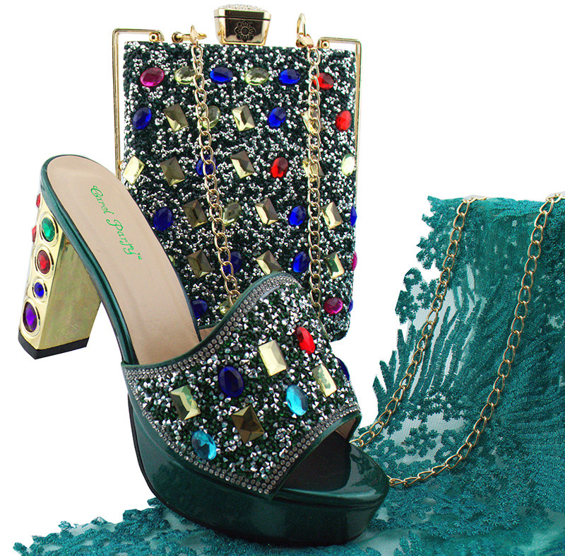 0b39c99b8b2a Newest fashion african aso ebi wedding party teal green shoes and bag  matching set to women