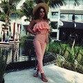 Playsuits Bodysuits Novo 2016 Macacão global das mulheres barra Neck costura babados sexy moda tamanho Grande calças macacões