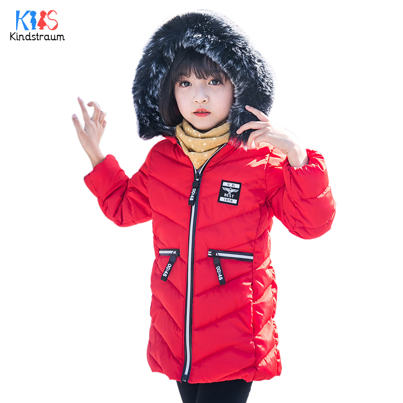 Kindstraum 2017 Children Thick Down Clothes High Cotton Kids Fur Hooded Coats Winter Super Warm Wear for Girls,RC1574 mmc brand children s winter thick warm brief style gradient splice high quality hooded down coats for girls 90
