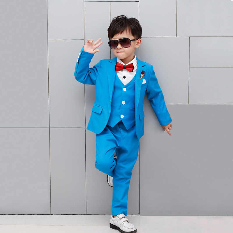 4dfdd3e27 ... 5pcs Kids baby party dress boy suits Children white blazer for boys  formal costume clothes flower ...