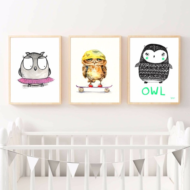 Kawaii Owl Nursery Artwork Canvas Art Print Painting Poster Wall Pictures For Kids Room Home Decorative