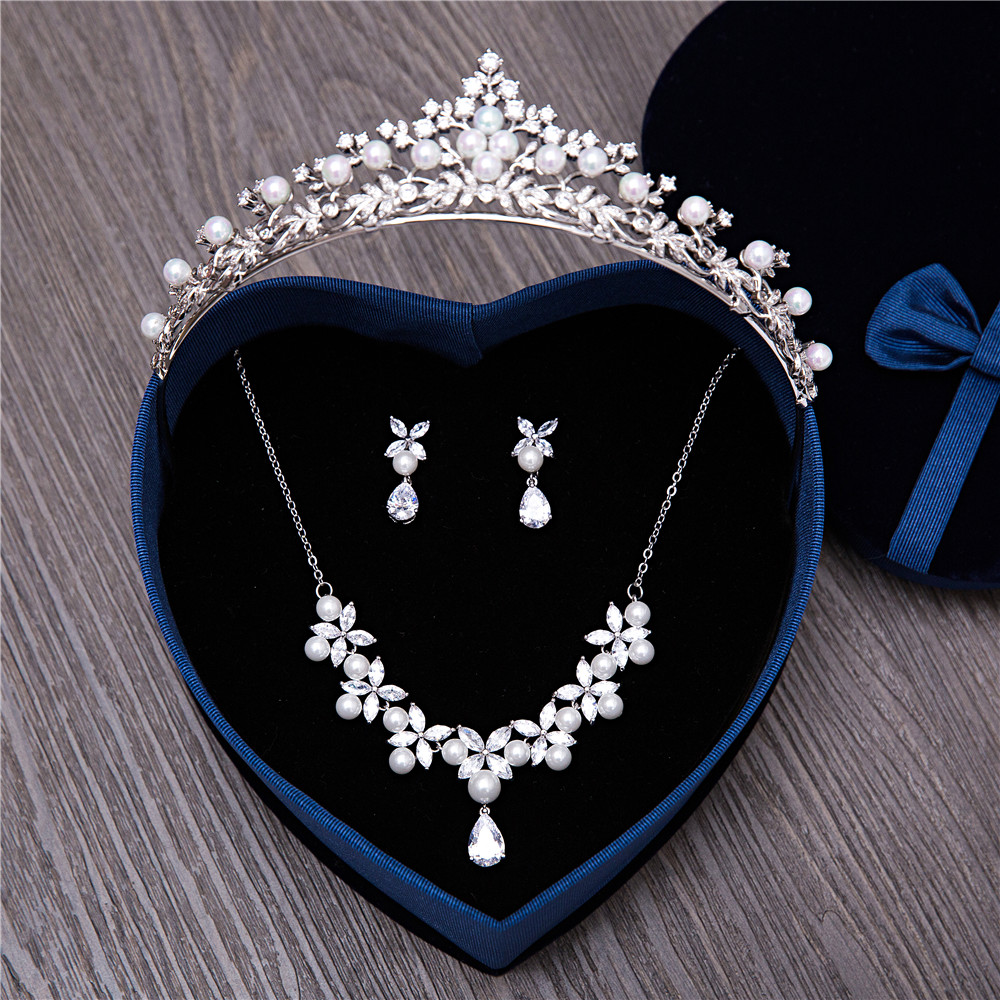 Bridal jewelry tiara - Women Wedding Jewelry Sets Clear Cubic Zirconia Cz Brides Accessories Tiara Necklace Earrings Bridal Jewellery For Prom Party