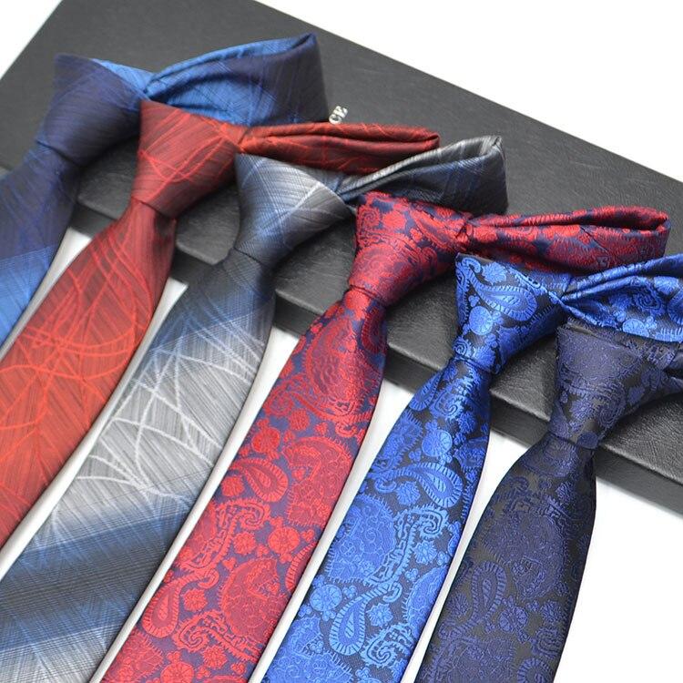 1200 Needles 6cm Mens Ties New Man Fashion Solid Neckties Corbatas Gravata Jacquard Slim Tie Business Blue Tie For Men Necktie