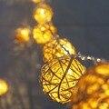 6 см Ротанга мяч 5 м 20 светодиодов строка Сказочных огней праздник гирлянды Светодиодные рождественские огни в помещении, открытый свадебный декор лампы ЕС/США