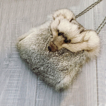Women Real Rabbit Hair Fur Bags Fox Head Small Sling Shoulder Bags For Women Chain Messenger Bags Luxury Leather Soft  Fur Bags