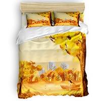 Golden Autumn Cartoon Girl 3 Pcs 4 Pcs Bedding Set Home Decor Duvet Cover Set Comforter Bedding Sets Adult Kids Free Shipping