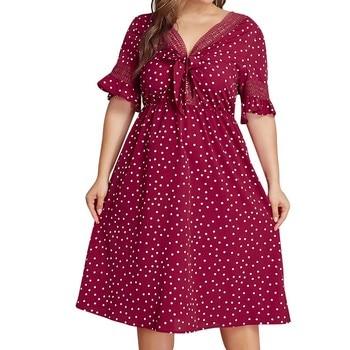 Polka Dot Dress Women 4 Plus Size Womens Plus Size Red polka Dot  Ladies  Summer  Dress Z4 sleeveless o neck polka dot ruffles summer dress 2019 casual loose plus size dress women