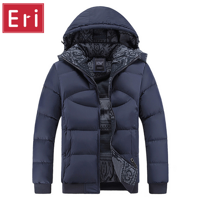 Men Hoody Winter Coats Male Hooded Plus Size XXXL 4XL Jackets Teenager Slim Fit Windbreaker Parka Cotton-Padded Black/Navy X358