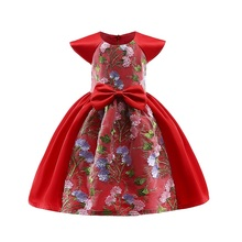 Girl Party Dress 2018 Summer Fashion Florals Printing Dress For Girl Kids Embroidery Sleeveless dresses Children Clothing raw edge florals dress