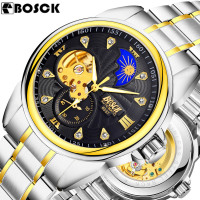 BOSCK Men Wrist Watch Top Brand Luxury Men Military Sport Clock Automatic Mechanical Watches Male Skeleton
