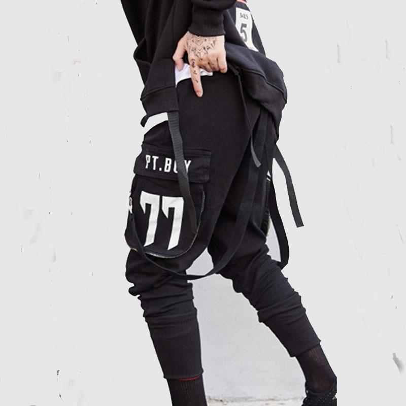 Korea Fashion Mens Ribbon Pants Hip Hop Street THICK Joggers Sportspants Sportwear Pants Slacks Trousers Spring Autumn Clothing