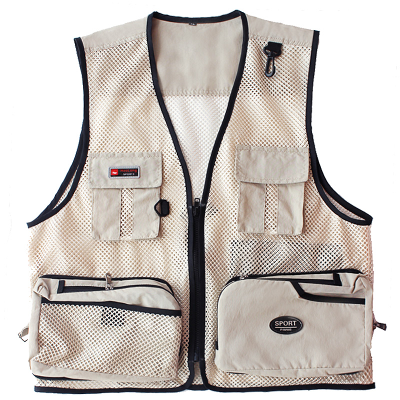 Men Summer Vest Outdoor Multi-pockets Photography Men Fishing Vest Mesh Male Vest Men Fishing Waistcoat Photography Clothing
