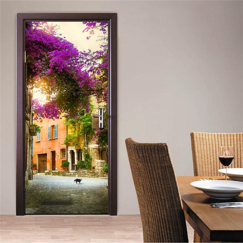 funlife Garden House Imitation 3D Door Sticker Home Decoration Waterproof Poster Adesivo De Parede Creative Stickers Muraux