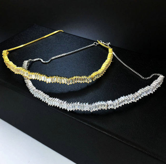 New Arrival Hotsale 18K Real Gold Plated elegant AAA cubic zircon micro paved glitter chokers necklaces for women jewelry gift