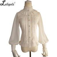 Gorący Sprzedawanie Rocznika kobiet Szyfonowa Bluzka Słodkie Długim Rękawem Latarnia Wysoki Kołnierz Koszuli z Lace Detailing