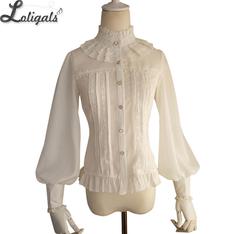 Hot Selling Vintage Women's Chiffon Bluse Sweet Long Lantern Sleeve High Collar Shirt med Lace Detailing