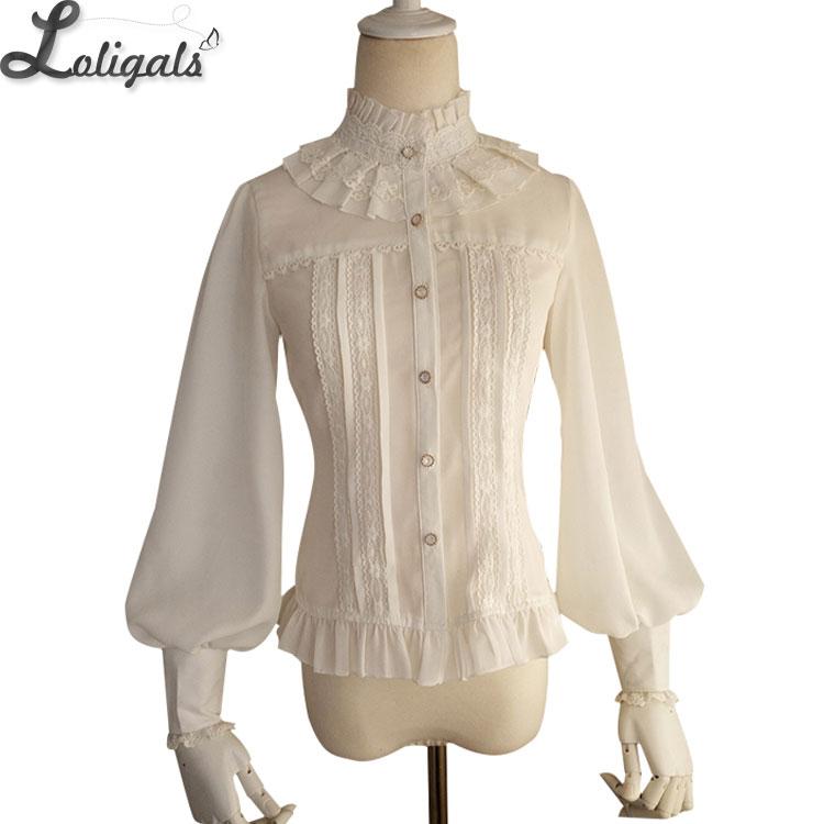 Hot Selling Vintage Women's Chiffon Blouse Sweet Long Lantern Sleeve High Collar Shirt with Lace Detailing