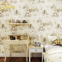 British Style Pure Paper Wallpaper Vintage Bicycle Boys And Girls Children S Room Bedroom Living Room