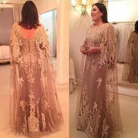 Elegant 2019 Champagne Lace Appliqued Mermaid Mother Of The Bride Dresses With weddings Wraps Mother Groom vestido de madrinha