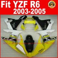ชิ้นส่วนรถจักรยานยนต์สำหรับYAMAHA R6 2003 2004 2005ชุดเครื่องบินสีเหลืองสีขาวสีดำYZF R6