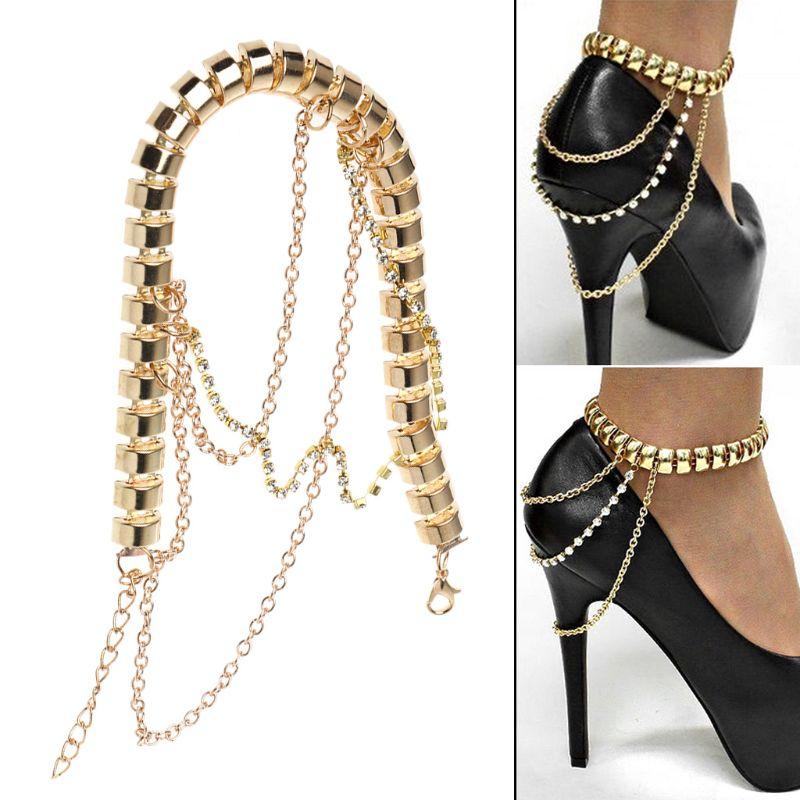 High Heels Chain Anklet Gold Decoration Women Rhinestone Ornament Multi Layer Pendant  Wedding Bridal Accessories