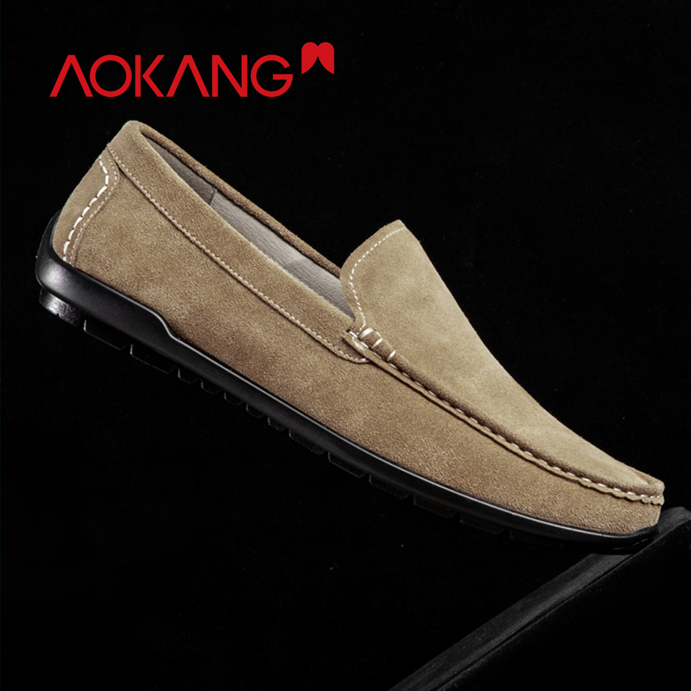 AOKANG 2019 Spring Loafers Slip On Breathable Casual Shoes Men Genuine Leather Chaussure Homme Plus Comfortable