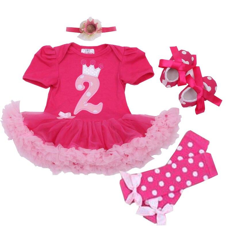 Baby Girl Summer Clothing Sets 2nd Birthday Outfits Character Tutu Dress+Headband+Dot Legging ...