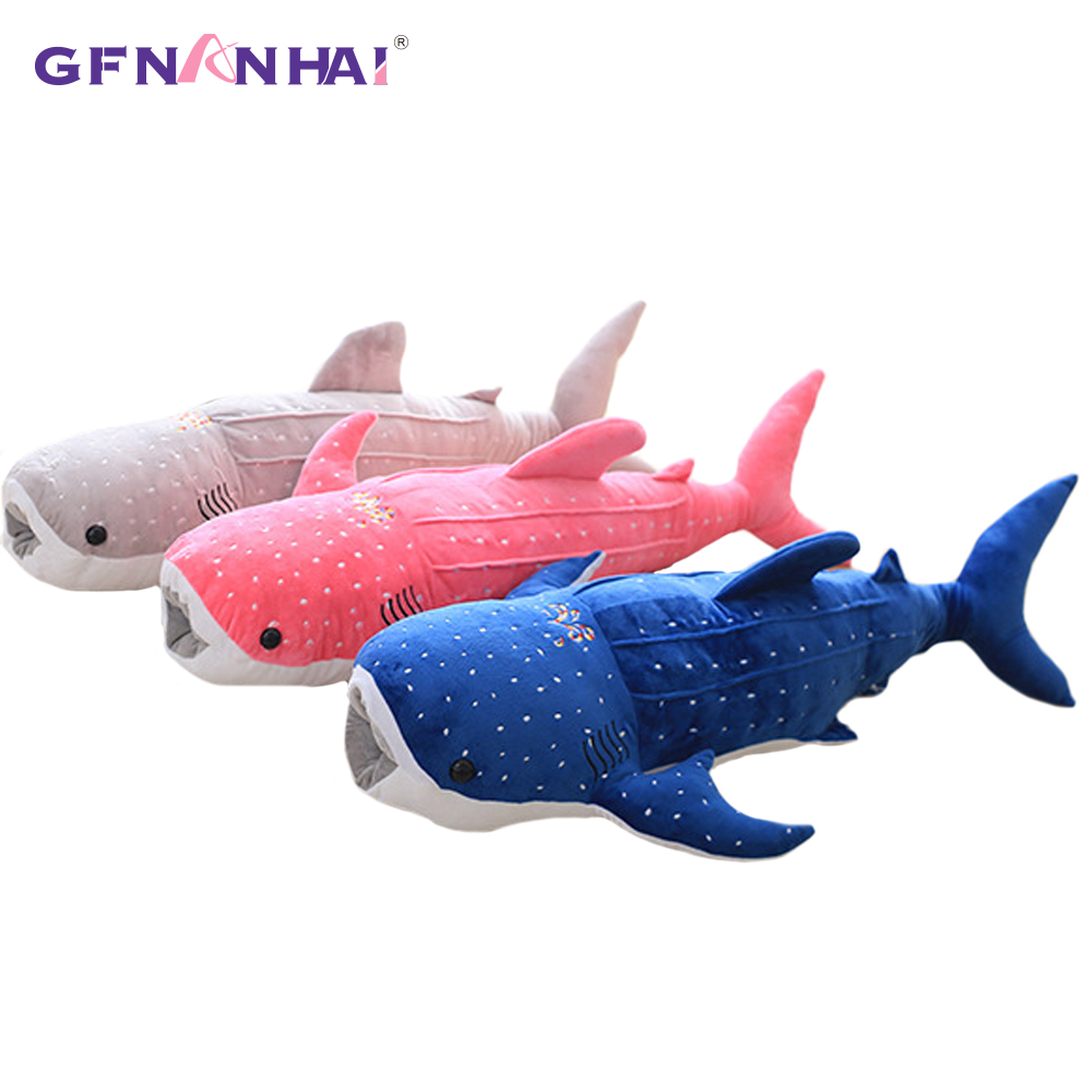 New Cute Large 55/75cm Whale Shark Plush Toy Cartoon Doll Soft Stuffed Animals Cushion Child Pillow 3 Colors Kids Toy Gifts image