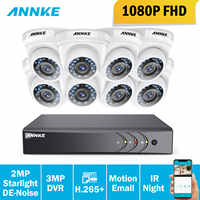 ANNKE HD 3MP H.265+ 8CH CCTV System DVR Kit 8pcs 2MP IP66 Waterproof Indoor Outdoor Security Camera Home Surveillance Kit