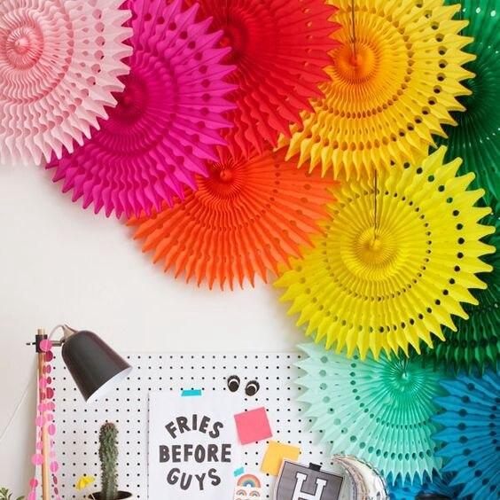 5 pcs 20 centímetros Tissue Paper Cut-out Pinwheels Papel de Suspensão Da Flor Leques De Papel da Festa de Casamento de Artesanato para Chuveiros festival de aniversário