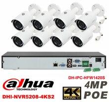 Dahua original 8CH 4MP H2.64 DHI-IPC-HFW1420S 8pcs bullet Waterproof camera POE DAHUA DHI-NVR5208-4KS2 IP security camera kit