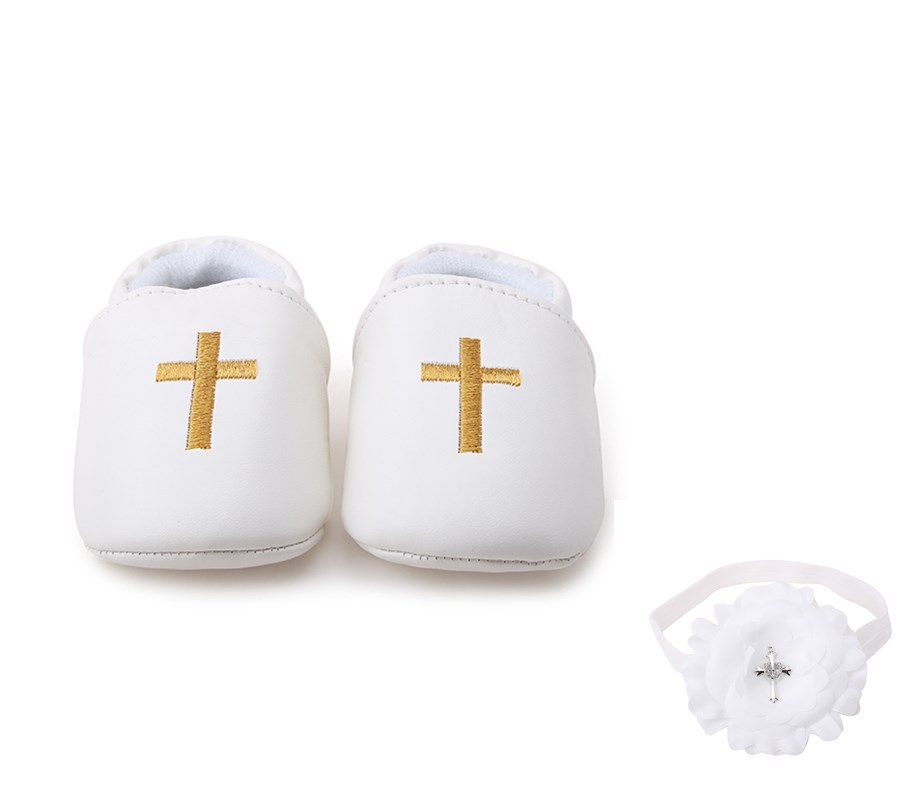 Delebao Golden Cross Christening Baptism Slip-on Newborn Baby Shoes + Baptism Hair Accessory For 0-12 Months