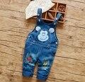 2016 nuevo bebé de la llegada jeans denim pant pantalón bebé niño y niña de dibujos animados rana oso diseño