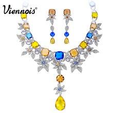 Viennois luxo conjunto de jóias flor design multicolorido cristais colar e brincos conjunto de jóias para mulheres conjunto de jóias de noiva