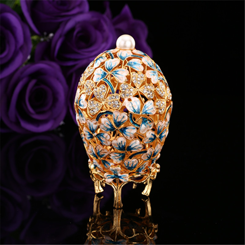 QIFU Beautiful leaf painting gift crafts made by metal mediterranean decor garden decoration faberge egg