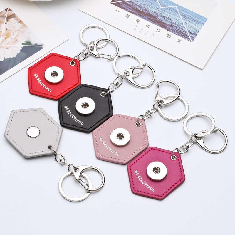 Chaveiros Personalizados de vendas DIY Snap Snaps Anel Chave Pendurar Acessórios Encantos Polígono Snap Pingente Fit 18 & 20 MILÍMETROS Snaps KC09