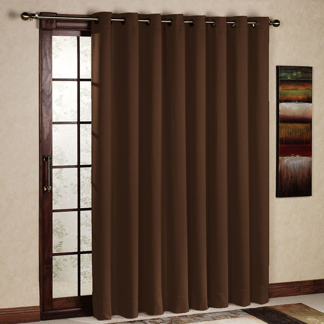 One Panel Per Pack Solid Chocolate D Blackout Thermal Insulated Cortinas Window Treatments Grommet Eyelet