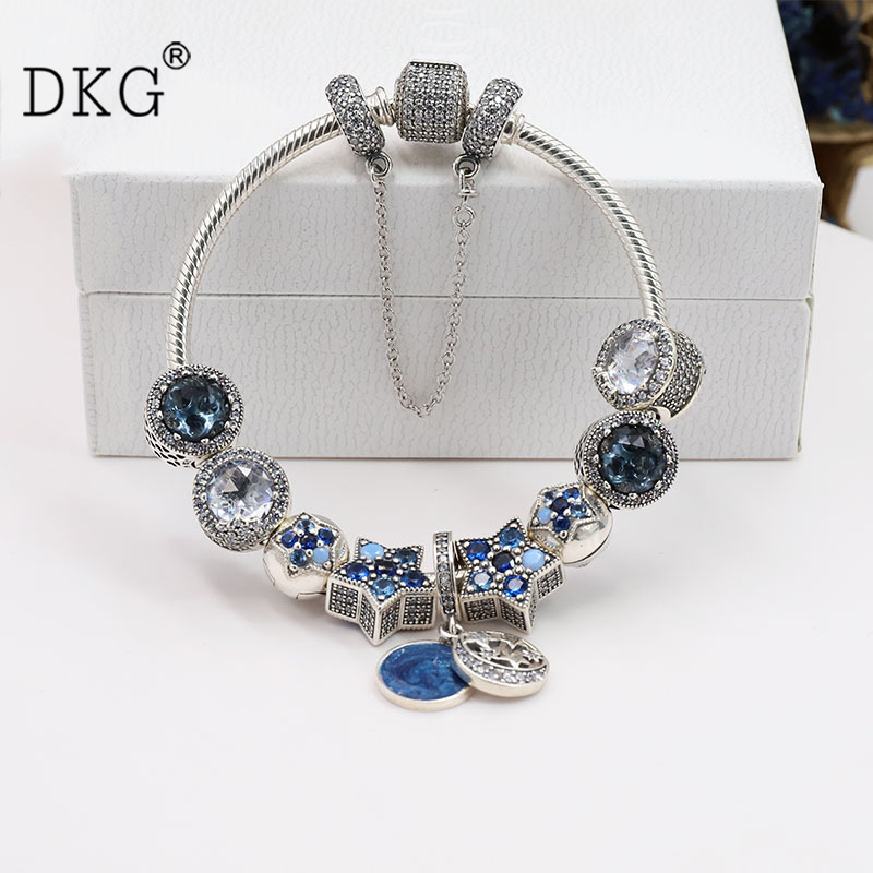 2018 925 Sterling Silver Original Sparkling Bright Stars Pan Bracelet Set Clear CZ Fit Women Bangle Bead Charm DIY Jewelry 925 sterling silver pan rose gold hollow crown set clear cz fit smooth signature padlock women bangle bead charm diy jewelry