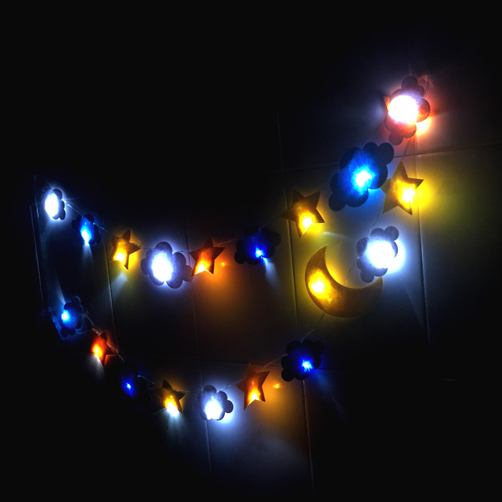LED Decorative Lamp Star Moon Cloud Decorative Light Non wovens Holiday Kids Room Tent Decorative Lights Cute stars LED Beads