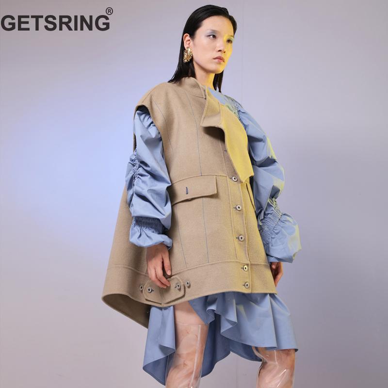 GETSRING Women Vest Winter Sleeveless Vest Patchwork Variety Ways Wear Wool Waistcoat Double-Sides Woolen Waistcoat Autumn Tops