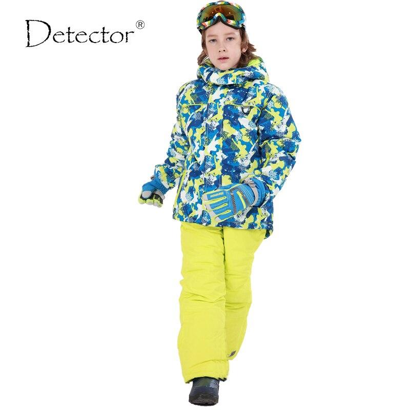 Détecteur enfants garçon Ski costumes imperméable coupe-vent veste de Ski pantalon hiver thermique Snowboard ensembles extérieur garçon manteau-30 degrés