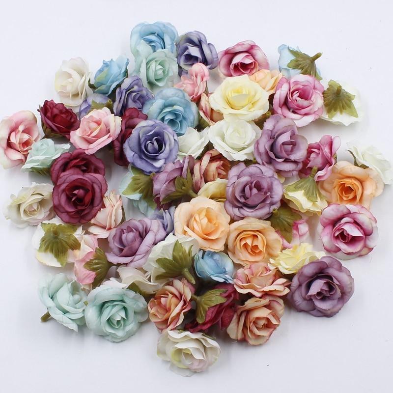 10 pcs 4cm Silk Rose Artificial Flower Wedding Leaves Decoration Items Wreath DIY Handicraft Flowers Fake Simulation Cheap